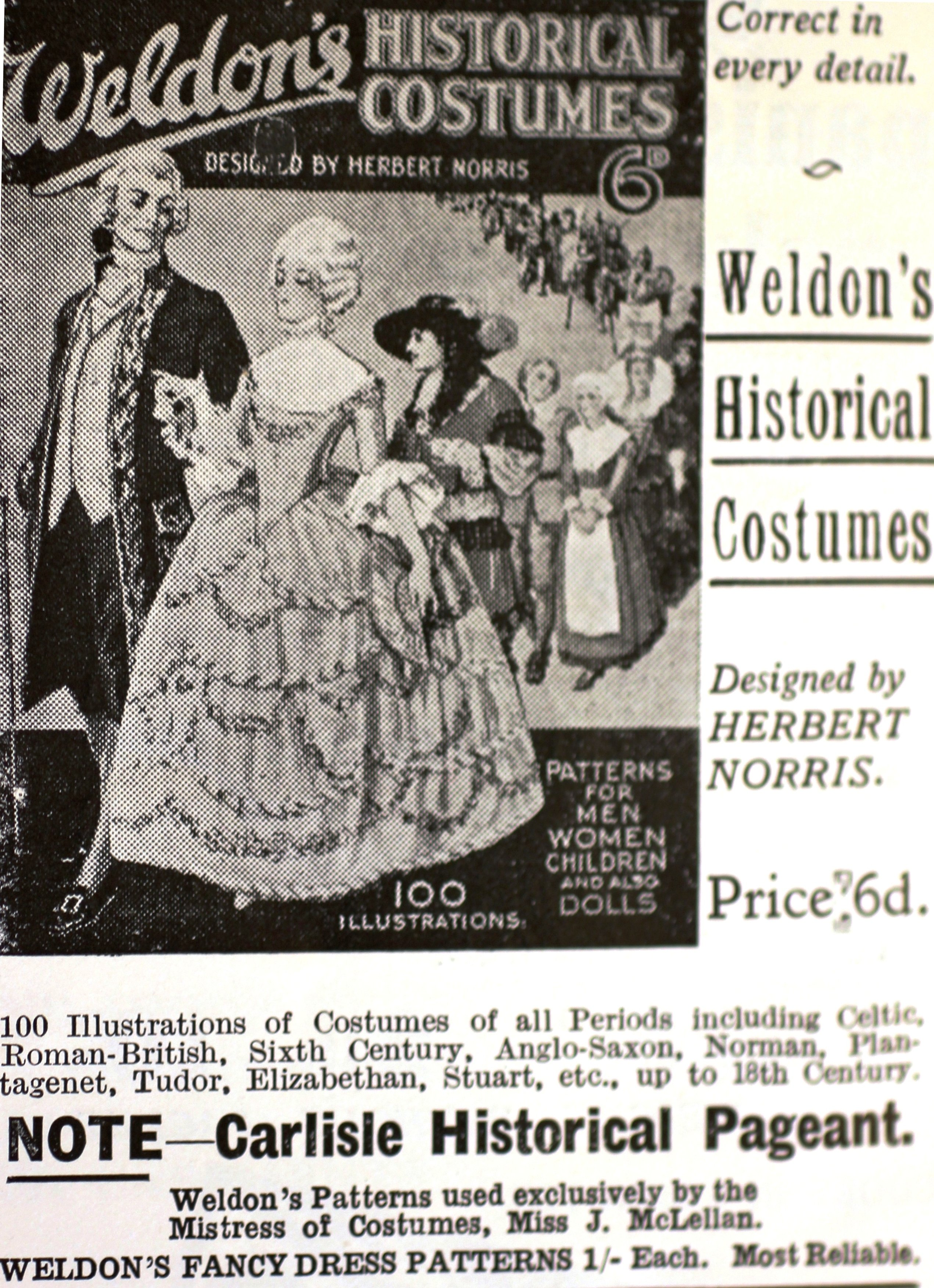 Carlisle 1928 advert for costume hire