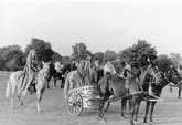 Boudica (played by Brenda Swinson) in her scythe-wheeled chariot, with entourage, in the 1953 St Albans pageant