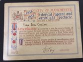 Manchester Pageant 1938: Certificate