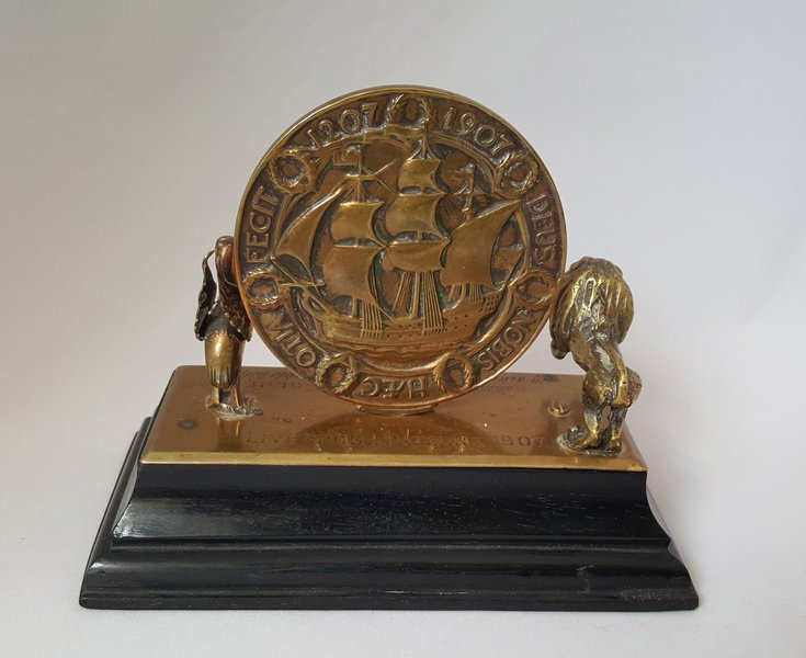 Liverpool Pageant 1907: desk weight (reverse)