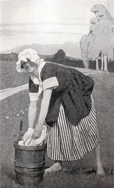Laundrymaid on Glasgow Green in the The Story of the West: A Pageant of the Britons, the Vikings, the Traders and the Clans (Glasgow 1928).