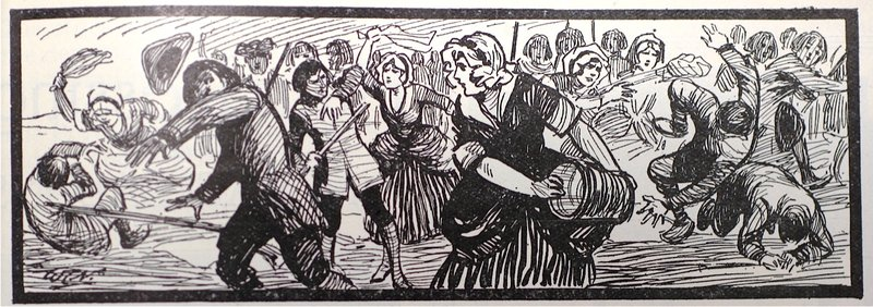 A drawing of the women chasing army volunteers for tramping on their washing