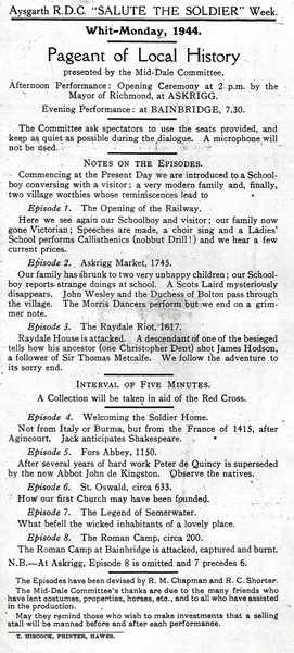 Programme for the Askrigg/Bainbridge Pageant 1944