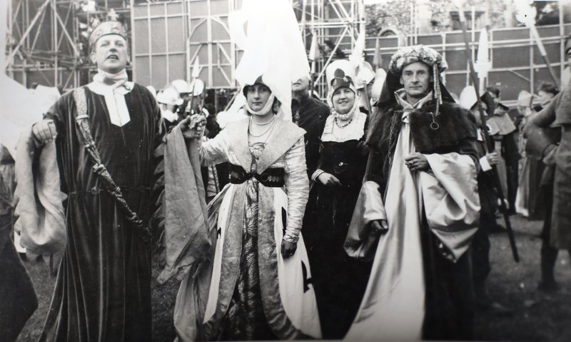 Performers between scenes in the Bury St Edmunds Pageant 1959