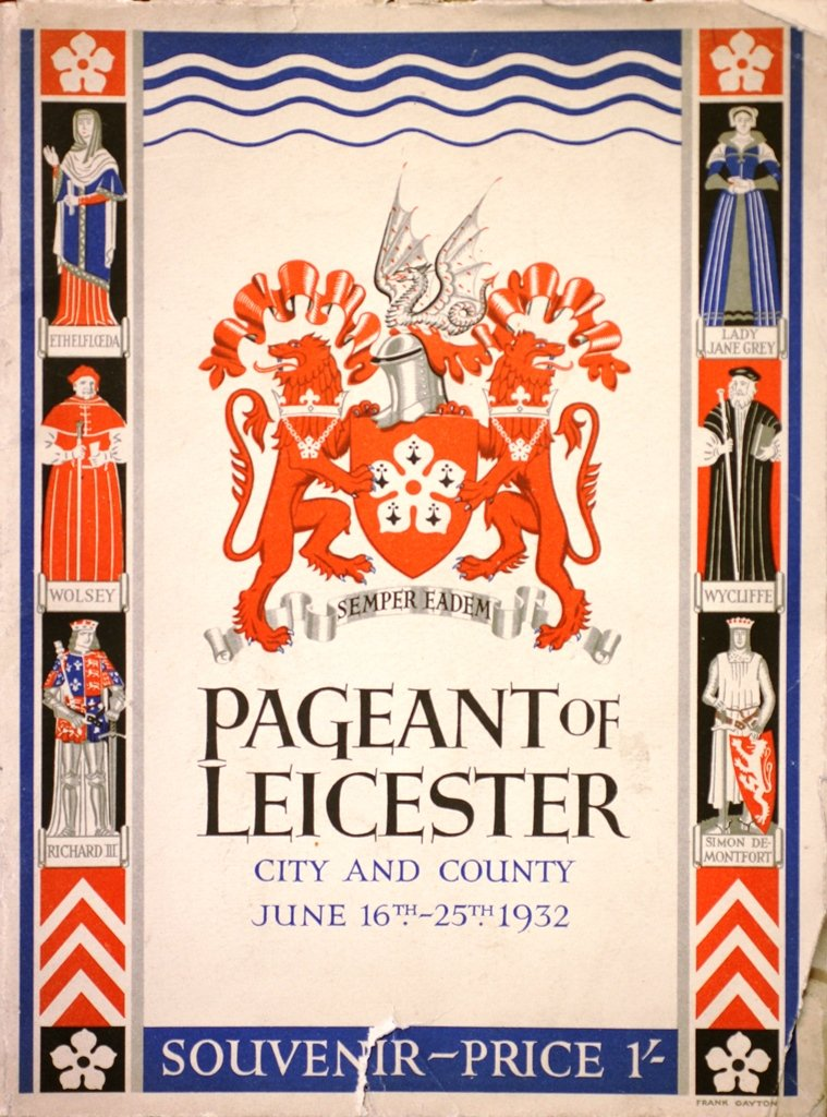 Leicester Pageant Committee, Pageant of Leicester Souvenir (Leicester, 1932), front page