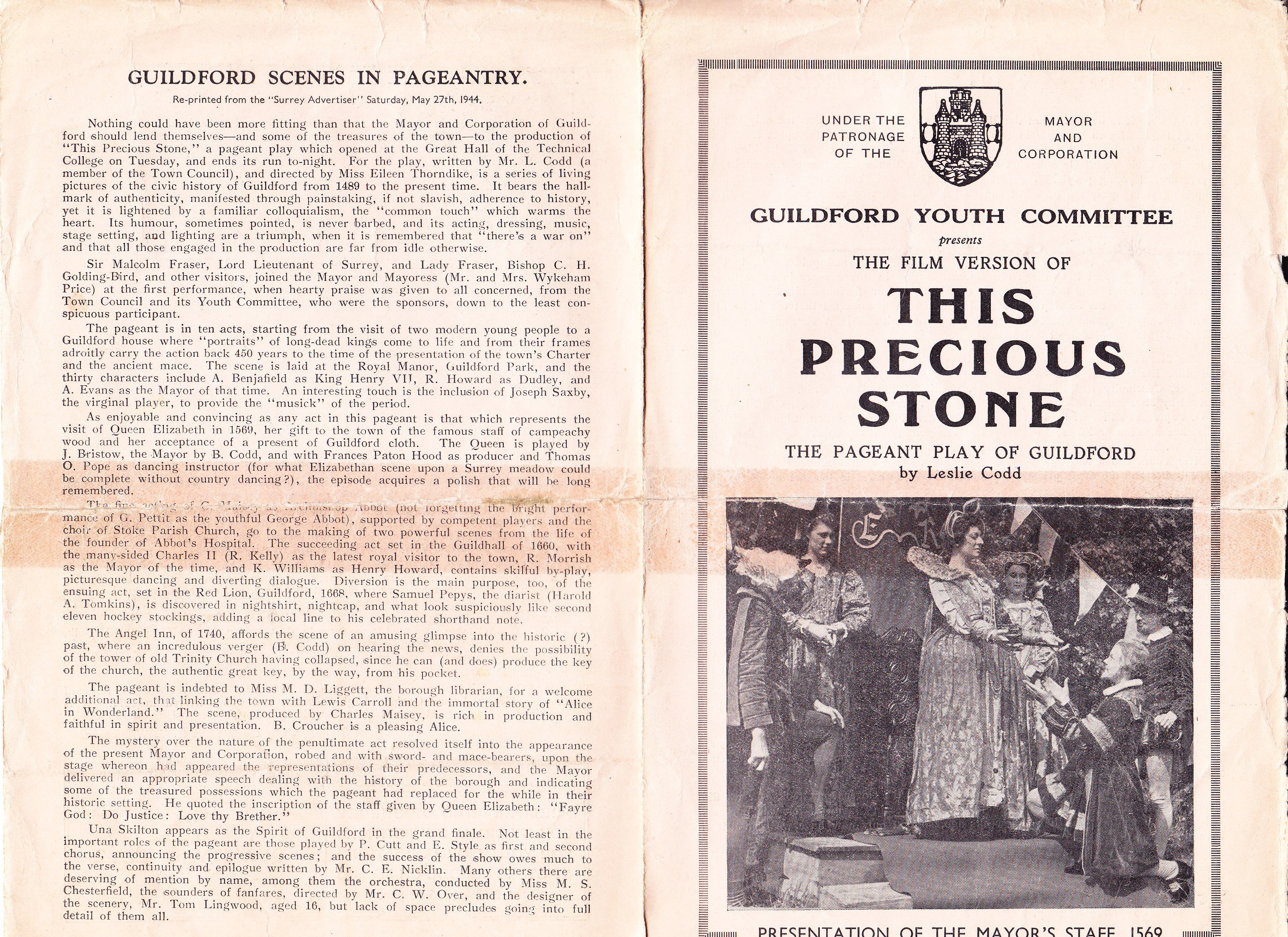 outside cover of booklet of film of Precious Stone pageant 1944
